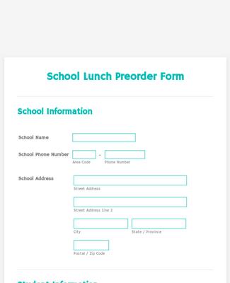 School Lunch Preorder Form