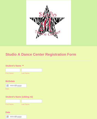 Studio A Dance Center Registration Form