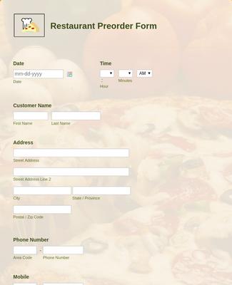 Restaurant Preorder Form Template