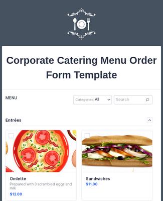 Corporate Catering Menu Order Form Template