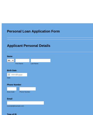 Personal Loan Application Form