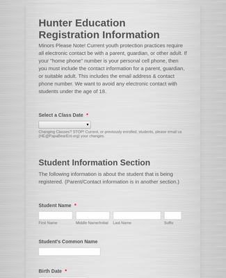 Hunter Education Registration Form