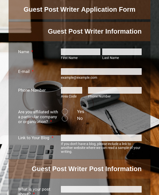 Guest Post Writer Application Form