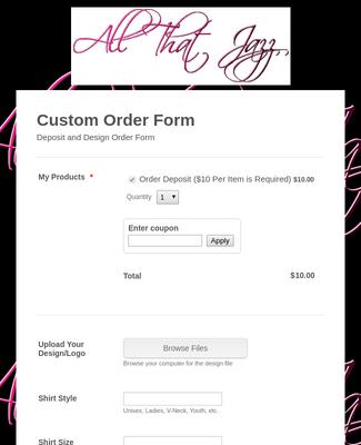 T-shirt Deposit Order Form