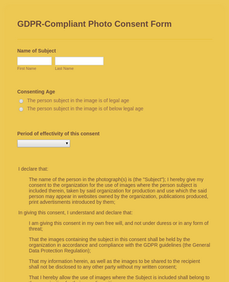 GDPR-Compliant Photo Consent Form