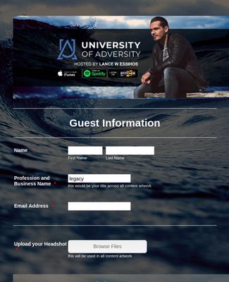 University of Adversity Podcast Guest Form