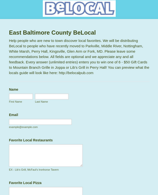 BeLocal Recommendation Form