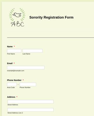 Sorority Registration Form