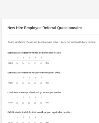 New Hire Employee Referral Questionnaire