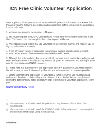 ICN Free Clinic Volunteer Application
