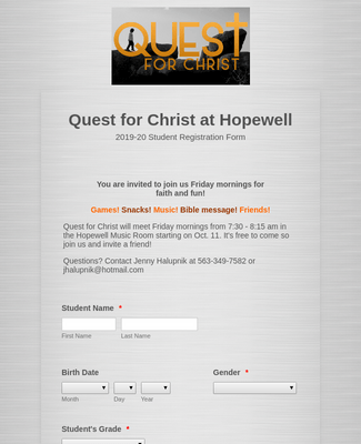 Quest for Christ Registration Form