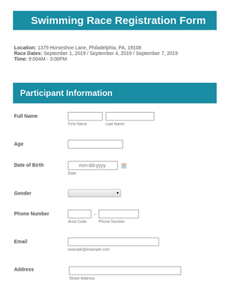 Swimming Race Registration Form