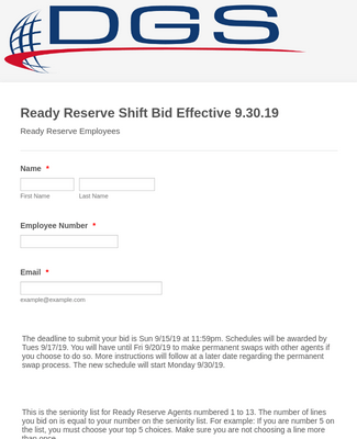 Shift Bid Form Template Jotform