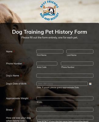 Dog Training Pet History Form