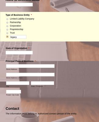 Business Entity Registration Form