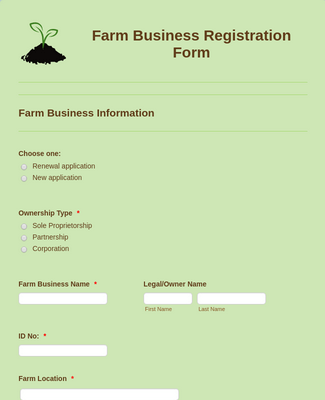 Farm Business Registration Form