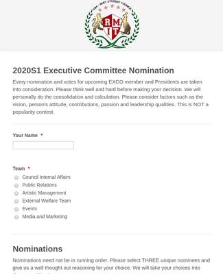 SIM-RMITSC Executive Committee Nomination