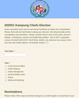 Presidential Election Form
