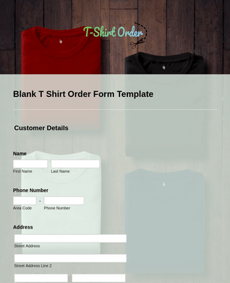 Blank T Shirt Order Form Template