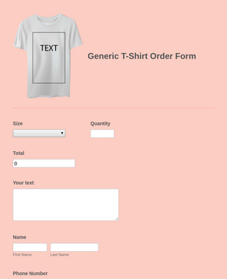 Generic T-Shirt Order Form