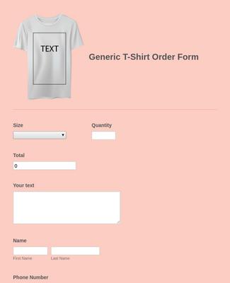 Generic T-Shirt Order Form
