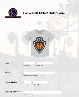 Basketball T-Shirt Order Form