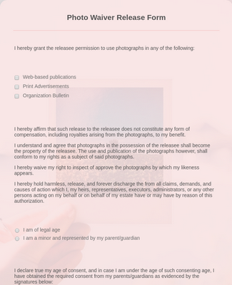 Photo Waiver Release Form Template