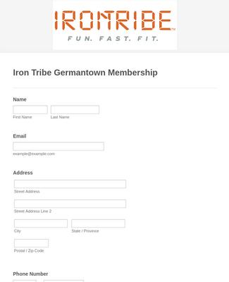 Fitness Club Membership Form
