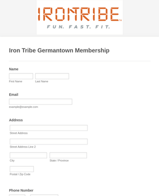 Fitness Club Membership Form