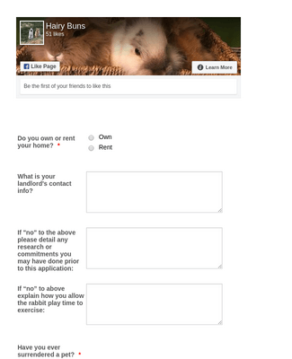 Hairy Buns Adoption Application