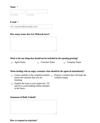 Food Delivery Agent Quiz Form