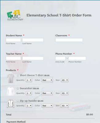Elementary School T Shirt Order Form
