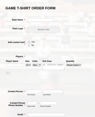 Game T-Shirt Order Form