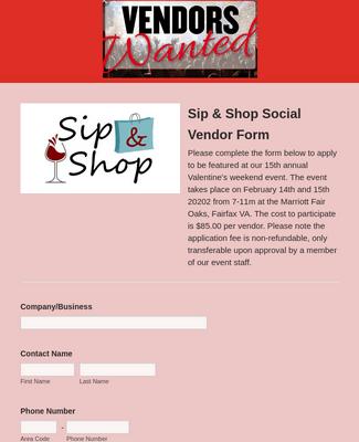 Vendor Registration Form for Valentines Day