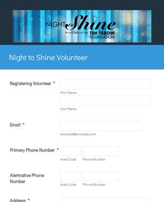 Event Volunteer Registration Form