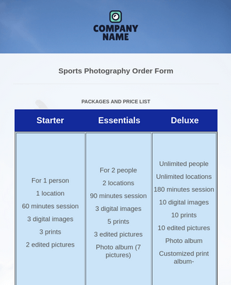 30 Photography Order Forms Jotform