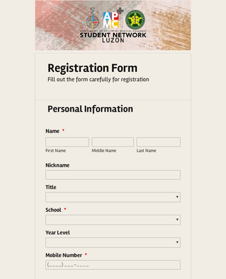 College Camp Registration Form