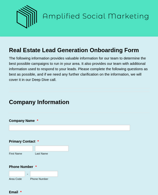Amplified - Real Estate Onboarding Form
