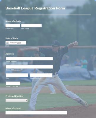Baseball League Registration Form