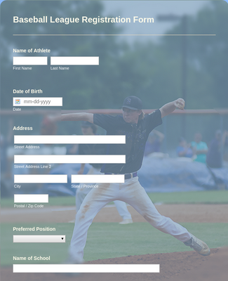 Baseball League Registration Form