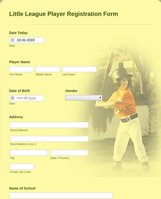 Little League Player Registration Form