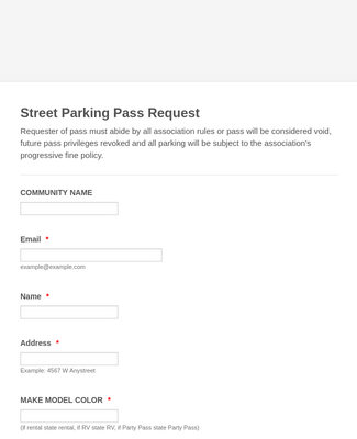 Parking Pass Request Form