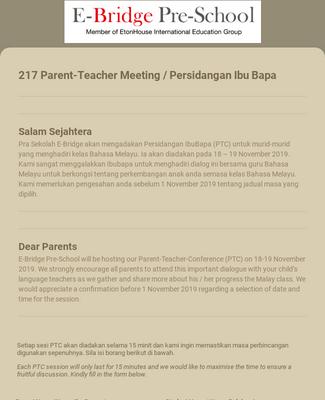 2019 E-Bridge PTC Template for Parents