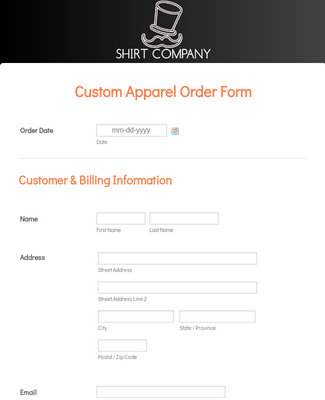 Custom Apparel Order Form