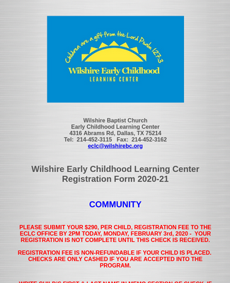 Wilshire ECLC Registration Form 2020-21 Community