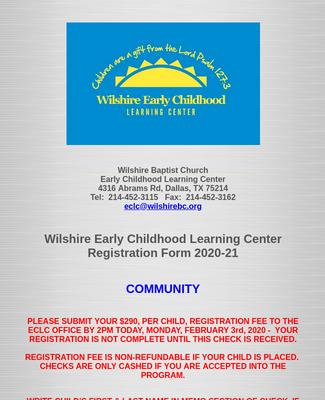 Wilshire ECLC Registration Form 2020-21 Community