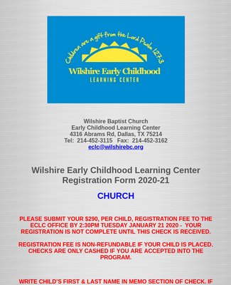 Wilshire ECLC Registration Form 2020-21 Church