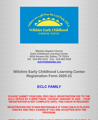 Wilshire ECLC Registration Form 2020-21 ECLC Family