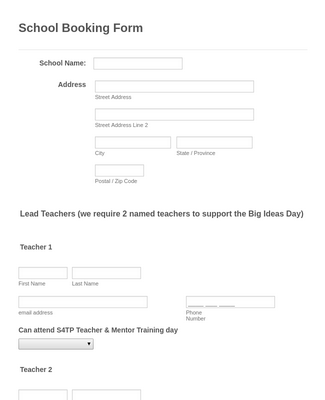 School Booking Form