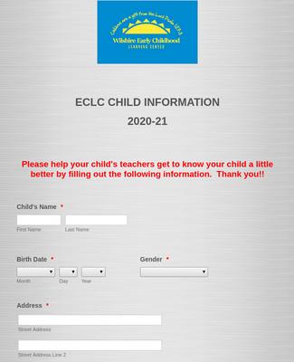ECLC Child Information - 2020-21
